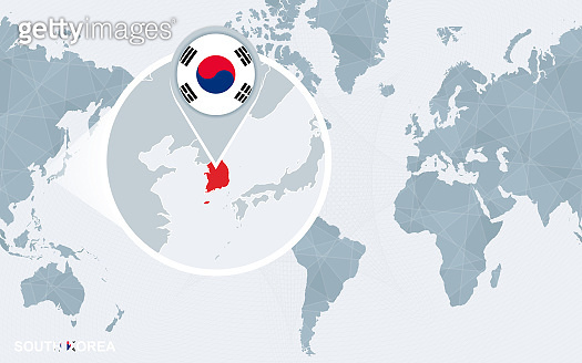 World map centered on America with magnified South Korea.
