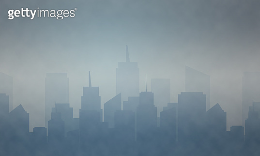 Air urban pollution  smoke, factories smoke and industrial carbon dioxide clouds.