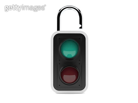 Green traffic light with padlock
