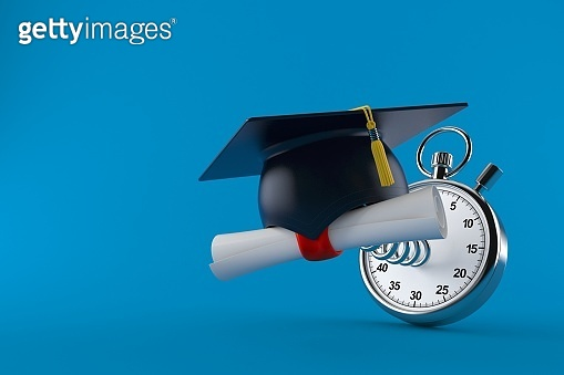 Mortarboard with certificate and stopwatch
