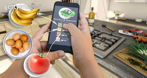 Grocery shopping app cooking recipe