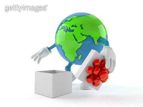 World globe character with open gift