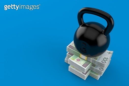 Kettlebell on stack of money