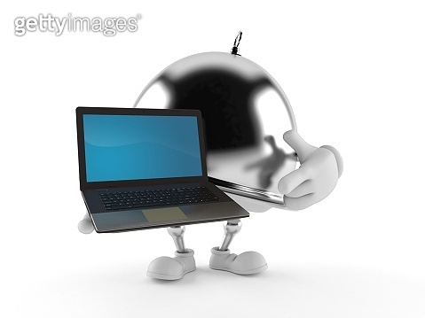 Silver catering dome character holding laptop