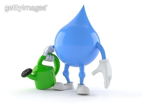 Water drop character holding watering can