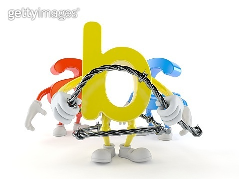 ABC character holding barbed wire