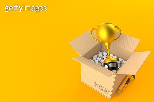 Golden trophy inside package