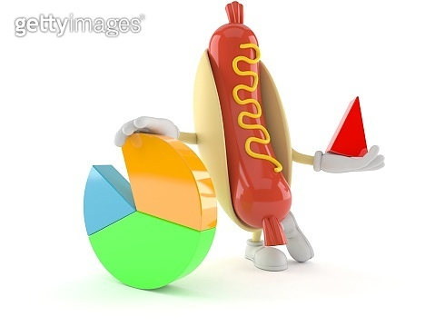 Hot dog character with pie chart