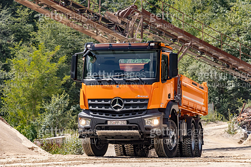 Mercedes Arocs 2643 dumper truck in quarry