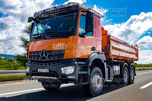 Mercedes Arocs 2643 dumper truck driving
