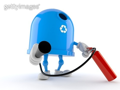Recycling bin character holding fire extinguisher