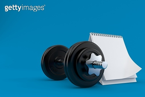 Dumbbell with blank calendar