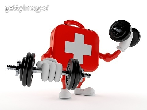 First aid kit character with dumbbells