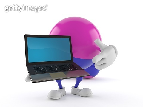 Paintball character holding laptop