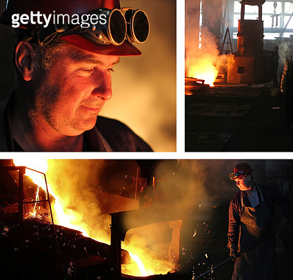 Worker controlling iron smelting in furnaces