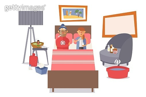 Sick people couple in bed, vector illustration. Husband and wife character have flu, fever. On bedside table medicines, syringe