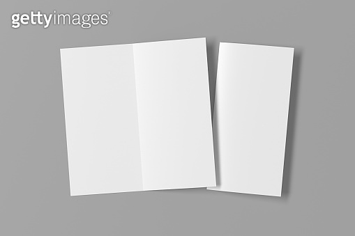Blank bi-fold square leaflet cover. Bi-fold or half-fold opened and folded brochure isolated with clipping path.