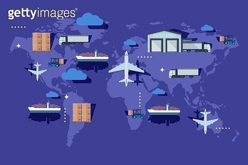 Warehouse transportation outside container, delievery vector illustration. Industry production export on world map, airplane