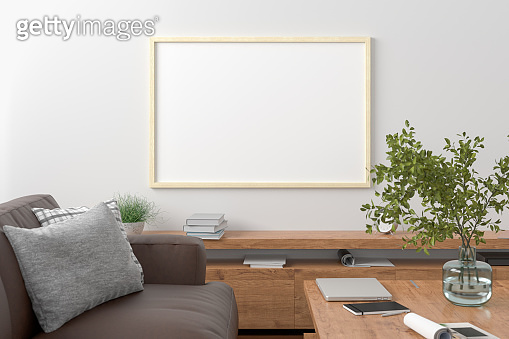 Horizontal blank poster on wall in interior of modern living room