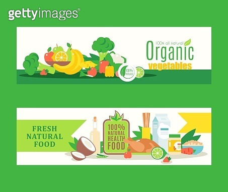 Organic healthy food from local farmers, fresh eco products, Vector illustration. Banners in flat style for organic grocery store or website with information about health and food