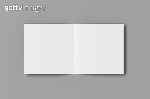 Blank square pages leaflet cover. Bi-fold or half-fold brochure isolated with clipping path.
