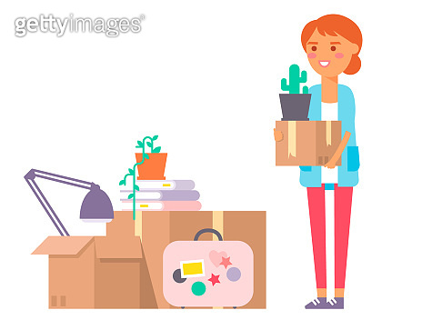 Happy young woman vector flat people moving in new house movement apartment together. Happy young girl moving service. Woman carrying boxes together with family person unpacking box character set