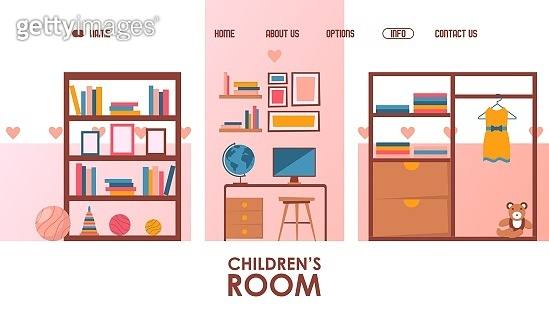 Children room furniture store website, vector illustration