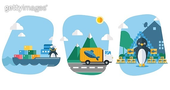 Fish delivery for penguins vector illustration. Bird carries goods, seafood in containers on ship. Truck transport fish for animal