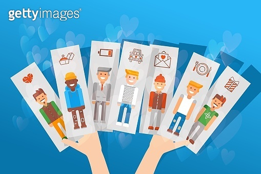 Cards with differnt character set vector illustration. Choice between men, girl's hand holding image guys and date icons.