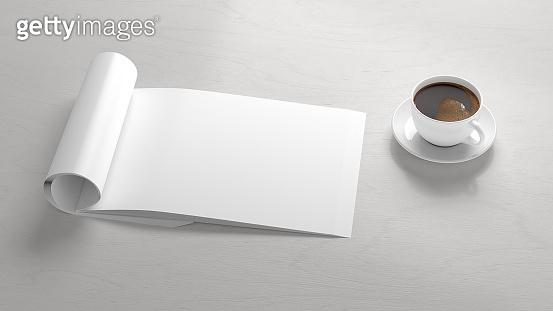 Blank magazine page. Workspace with folded magazine mock up on the desk.
