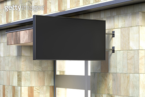 Horizontal signboard or signage on the marble wall with blank black sign mock up. Side view.