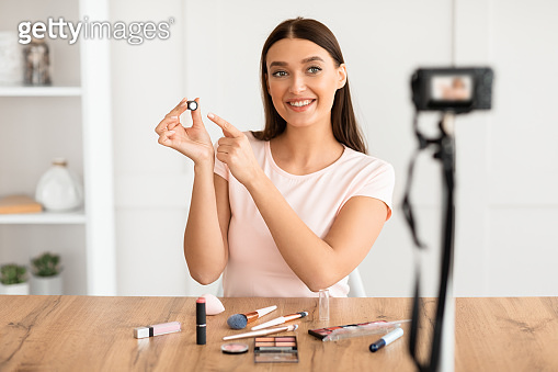 Woman Making Video Tutorial About Cosmetics And Makeup At Home