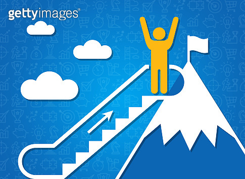 Following dreams and achieving success. Person on mountain top and moving staircase, blue background. Illustration