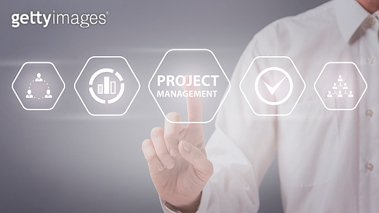 Man choosing project management button on virtual screen