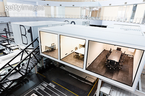 Three rooms with glass wall in modern corporation