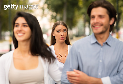 Girl Meeting Her Boyfriend Dating With Other Woman Walking Outside