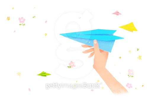 백그라운드, 봄, 사람손, 종이비행기