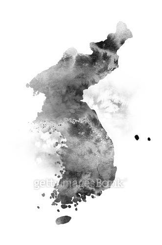 번짐, 먹, 한반도, 대한민국, 지도