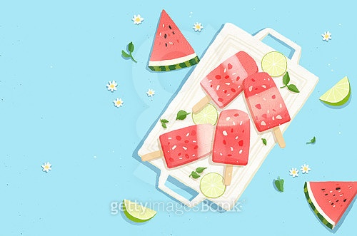여름, 수채화, 수박, 이벤트