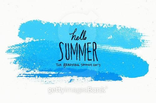 여름, 백그라운드, 수채화, 번짐