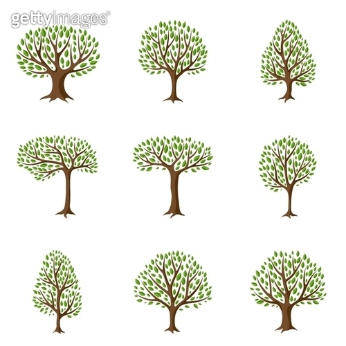 Set of abstract stylized trees. Natural illustration