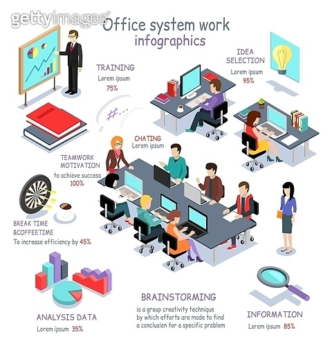 Isometric Office System Work Infographic