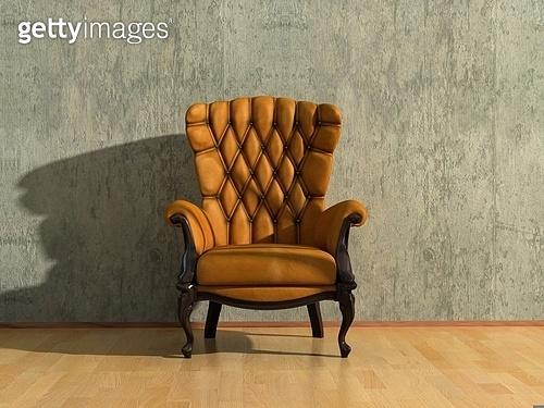 brown royal vintage armchair in grey room (3D rendering)