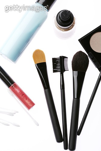 Cosmetics on white background, close-up