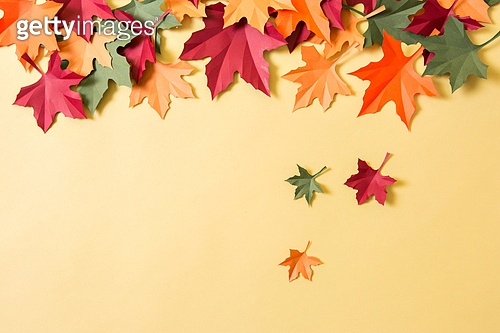 Autumn leaves made of paper