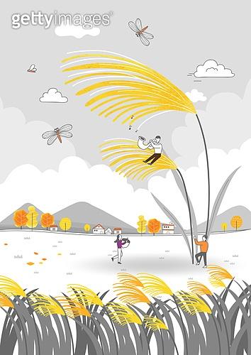 가을, 백그라운드, 라인아트 (일러스트기법), 단풍