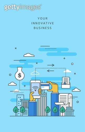 일러스트 (이미지), 비즈니스, 도시풍경 (풍경), 라인아트 (일러스트기법), 고층빌딩 (회사건물)