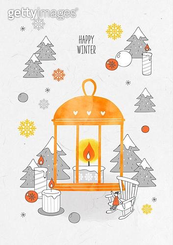 일러스트 (이미지), 겨울, 백그라운드, 우편엽서 (편지), 눈 (얼어있는물), 랜턴 (조명기구)