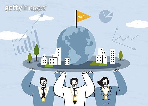 비즈니스, 비즈니스맨, 팀워크, 협력 (컨셉), 함께함 (컨셉), 희망, 발전 (컨셉), 지구 (행성), 그래프