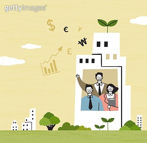 비즈니스, 비즈니스맨, 팀워크, 협력 (컨셉), 함께함 (컨셉), 희망, 발전 (컨셉), 새싹